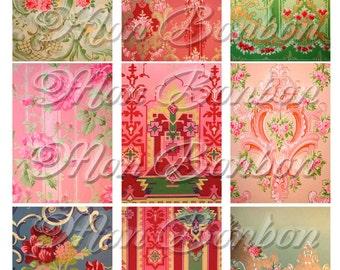 Digital Collage Sheet of Vintage Kitschy  Wallpaper Backgrounds - INSTANT DOWNLOAD