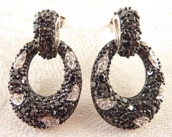Vintage Black with White Glass Rhinestone Sterling Loop Post Earrings