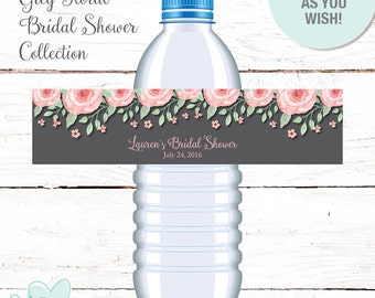 Bridal Shower Water Bottle Labels Personalized Grey Watercolor Floral, Printable Bridal Shower Water Bottle Labels, Flowers, 006A