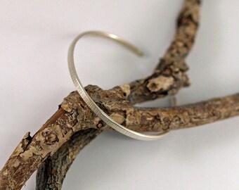 Open Bangle, Silver Cuff Bracelet, Handmade Sterling Silver Cuff Bangles, Line Hammered Textured, Adjustable Minimalist Bracelets