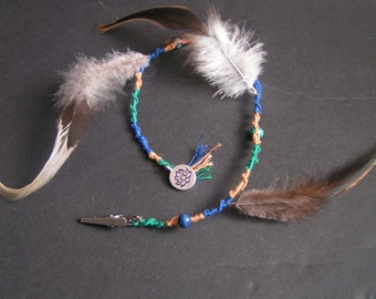 bohemian style removable atebas/hairwrap with feathers and charm