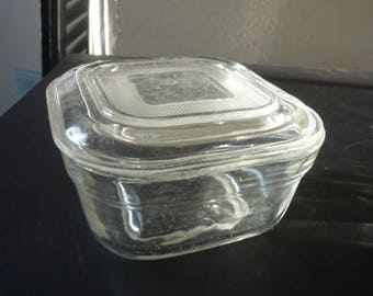 Vintage Covered Refrigerator Dish - Mid Century Modern 1950s -  Decorated Pressed Glass Box with Lid