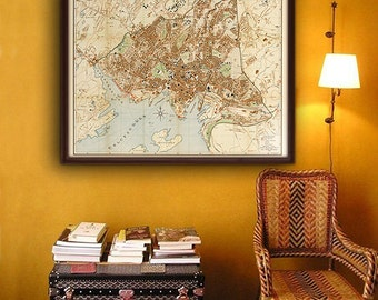 """Map of Oslo 1938, Vintage Oslo map, 4 sizes up to 43x36"""" (110x90 cm) Old street map of Oslo (Kristiania) Norway - Limited Edition of 100"""
