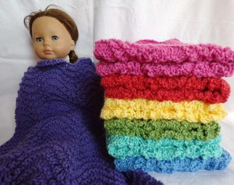 Made-to-Order Wavy Solid Color Knitted Doll Blankets, Pink Doll Blanket, Purple Doll Blanket, Green Doll Blanket, Blue Doll Blanket
