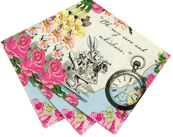 Truly Alice in Wonderland 25cm Paper Napkin x 20 Mad Hatters Wedding / Party
