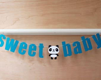 Baby Panda Banner - Sweet Baby - Custom Colors - Nursery, Panda Baby Shower Decoration or Photo Prop