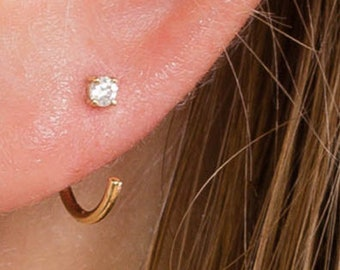 Hug Hoops, 14k gold Huggie Earrings, Hug Hoop Earrings, Open Hoops, Minimal Gift for Mom, Threelayers