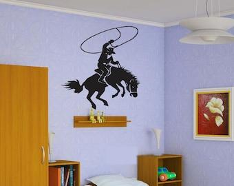 cowboy wall art cowboy wall decals boys room cowboy wall decor kids cowboy wall decorations cowboy wall stickers (Z410)