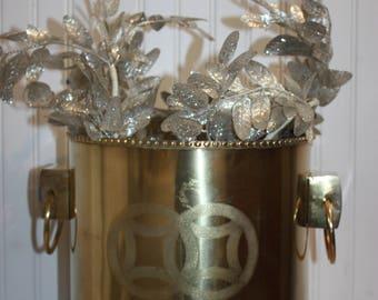 Large Brass Planter, Asian Design Planter, Connected Circle Design, Large Vintage Brass Pot, Ring Handles, Large Brass Planter