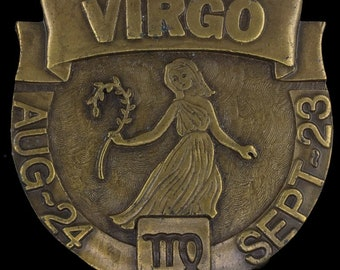 Vintage NOS 1970s 70s Virgo August 24 September 23 Astrology Zodiac Star Sign Horoscope Belt Buckle