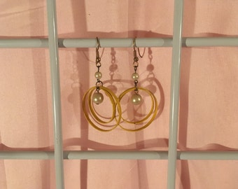 Yellow and Pearl 1980s Hoop Earrings.