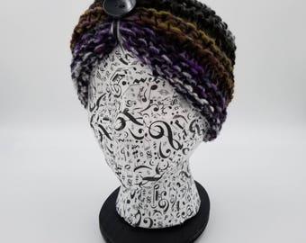 Hand Knit Headband, Ear Warmer, Hair Band, Noro Headband, Turban Headband, Button Headband, Wool Headband, Wool Ear Warmer, Knit Headwrap