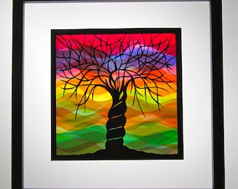 2 Trees Of Life As One Home Décor Wall Art Silhouette Paper Cutout, Rainbow Colors as Background Original Handmade Design Framed Signed OOAK