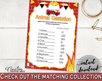 Animal Gestation Baby Shower Animal Gestation Fireman Baby Shower Animal Gestation Red Yellow Baby Shower Fireman Animal Gestation LUWX6