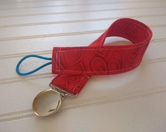 Pacifier Clip - Red Swirls