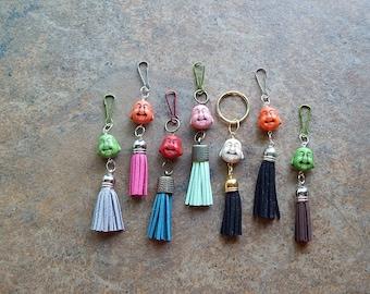 Buddha keychain - Buddha tassel charm - zipper pull - cute car accessory - rear view mirror dangle - key chain - purse charm - clip on