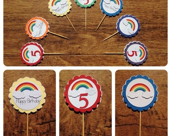 Cupcake toppers,  Rainbow themed cupcake toppers. Rainbow toppers, Rainbow themed birthday party, Rainbow party,12  rainbow cupcake toppers.