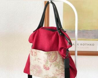 European Linen Tote in Red Colour and Flower Pocket - Zippered Messenger Bag - Shoulder Bag - Crossbody Bag - Diaper Bag - Spring Summer Bag