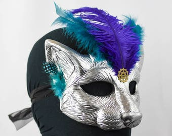 Silver, Feathered Cat Masquerade Mask