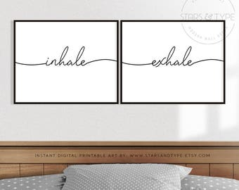 Inhale Exhale, PRINTABLE Wall Art, Set of 2 Two, Horizontal Landscape Format, Bedroom Sign Decor, Yoga Relaxation Breathe, Digital Print Jpg