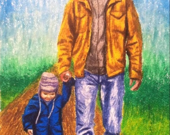 Father and son walking art picture
