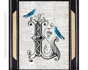 Letter L Initial Monogram art print wall decor with Beautiful Blue Bird upcycled vintage dictionary text book page Alphabet Typography 5x7