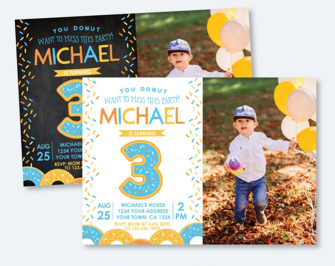 Donut Birthday Invitation with Photo, For any age, Sprinkle Birthday Invitation, Boy Birthday Invite, Personalized Invitation, 2 options