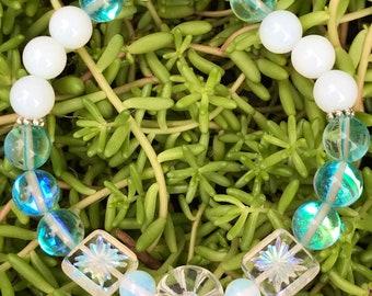 Jewelry Bead Bracelet Mystic Blue Quartz White Sea Opal Bead Bracelet Fun Opalite Mystic Blue Quartz Bracelet Stretch Bracelet Summer Fun