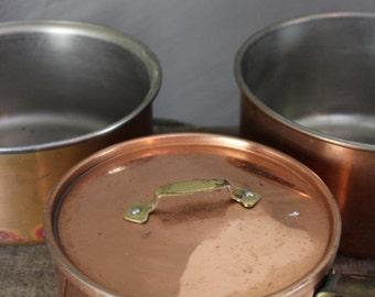 3 Copper Saucepans