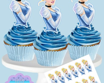 CINDERELLA Cupcake Toppers, Cupcake Picks INSTANT DOWNLOAD