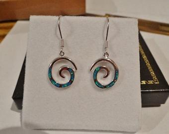 Swirl Opal Inlay Sterling Silver (.925) French Hook Earrings