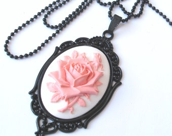 English Rose Necklace, Flower Necklace, Rose Cameo Necklace, Pink Rose Necklace in Black