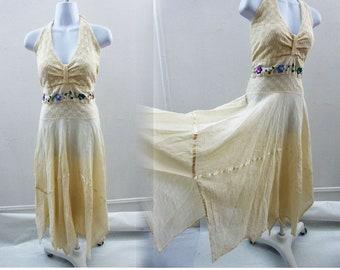 Vintage Mexican Halter Dress Size M L Cream Cotton Tribal Hippie Boho Wedding