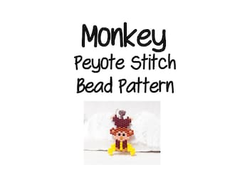 Monkey Beading Pattern, Peyote / Brick Stitch, Cute Animal Bead Weaving | DIGITAL DOWNLOAD