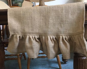 Burlap Table Runner Ruffled Burlap Runner Wedding Decor Table Settings French Country Farmhouse Tablecloth Made to Order Custom Sizes
