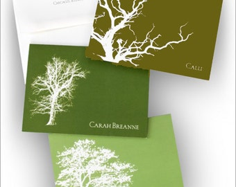 24 Personalized Tree Notes, Tree Silhouette Notes, Personalized Nature Notes, Personalized Fold Notes|Nature's Silhouette Notes|6486
