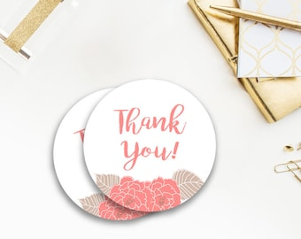Rustic Favor Tags, Stickers, Thank You tags, Circular Tags, coral, floral, flowers, beige, girl, elegant, classy, oh baby, 023