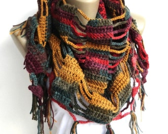 Cowl Scarf ,Rainbow Crochet Scarf , Crochet Shawl ,Women Accessories ,Wrap Shawl ,Mom Gifts , Gift For Mom , Gifts For Her
