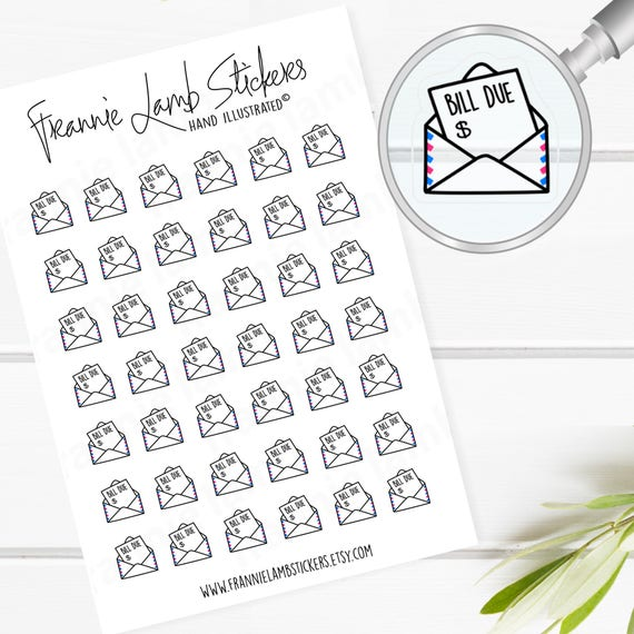 42 tiny clear bill due planner stickers clear matte stickers