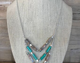 Sterling Silver Beaded Chevron Necklace