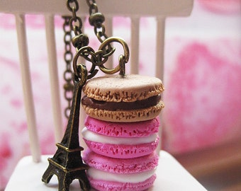 Macaroon Tower _ Shades of Pink & Caramel _ with Eiffel Tower Bronze Necklace_ 1/12 Dollhouse Scale Miniature Food _ Polymer Clay