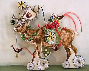 Christmas Paper Doll Decoration - Reindeer With Ornaments Digital INSTANT Download - 3D Christmas Card XP2 X