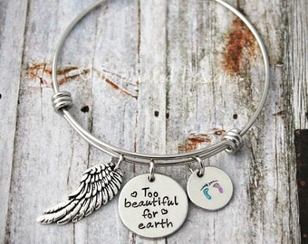 Charm Bracelet - Mother Bracelet - Personalized - Adjustable - PAIL - Loss -Too Beautiful For Earth - Miscarriage - Child Loss