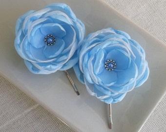 Pale blue fabric flower in handmade Small sky flower Hair Shoe clips Bobby pin Blue Weddings Bridesmaids hair dress sash accessory Gift Set