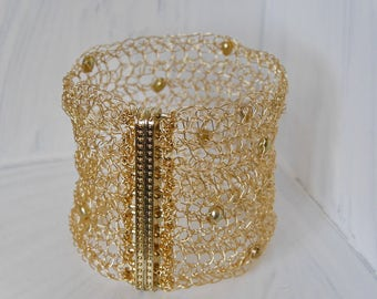 Wide Gold Bracelet gold cuff Bridal jewelry Freshwater Pearl crochet bracelet gold crochet bracelet cuff gold bracelet wide