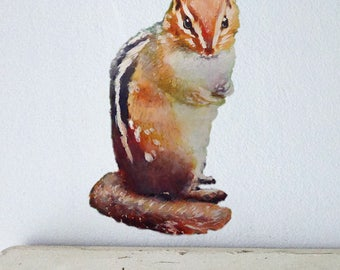 Chipmunk Wall Decal, Watercolor Chipmunk, Fabric Wall Sticker, Chipmunk Wall Decal, Woodland Animal, Nursery Woodland Decor