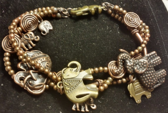 Copper Elephant Charm Bracelet