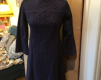 Custom made 1960s Midnight Blue Lace Dress- Daisy Pattern Lace- Approx size 12. VGC