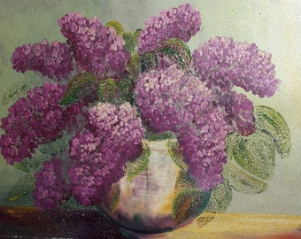 Antique oil painting still life lilac