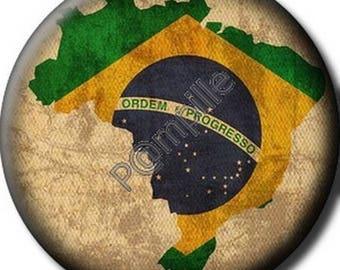 Round cabochon resin 25 mm - Brazil stick (1120) - friendship, world, travel